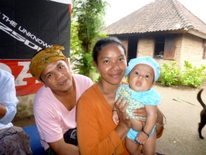 Ketut, Komang, and three month old Nengah