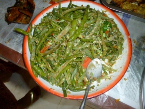 Kachang penjang, the foot long green beans with chilis